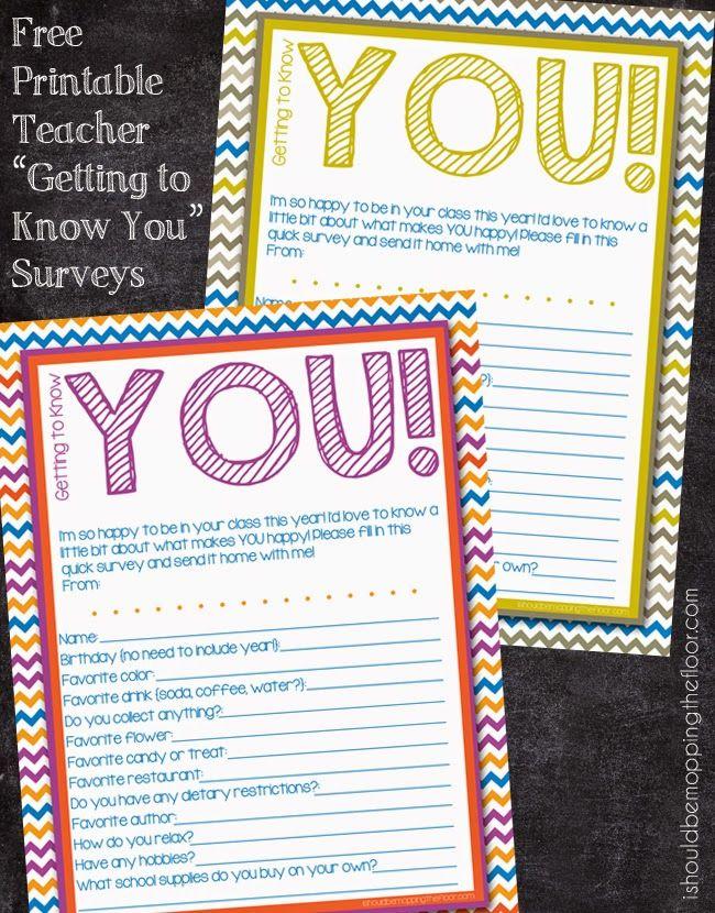 Free Printable Teacher Surveys to make teacher-gift giving super - printable surveys