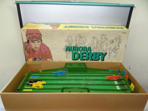 Vintage Used Aurora Derby 1972 Kids Battery Operated Plastic Horse Racing Game Retro Toys Racing Games 1970s Childhood