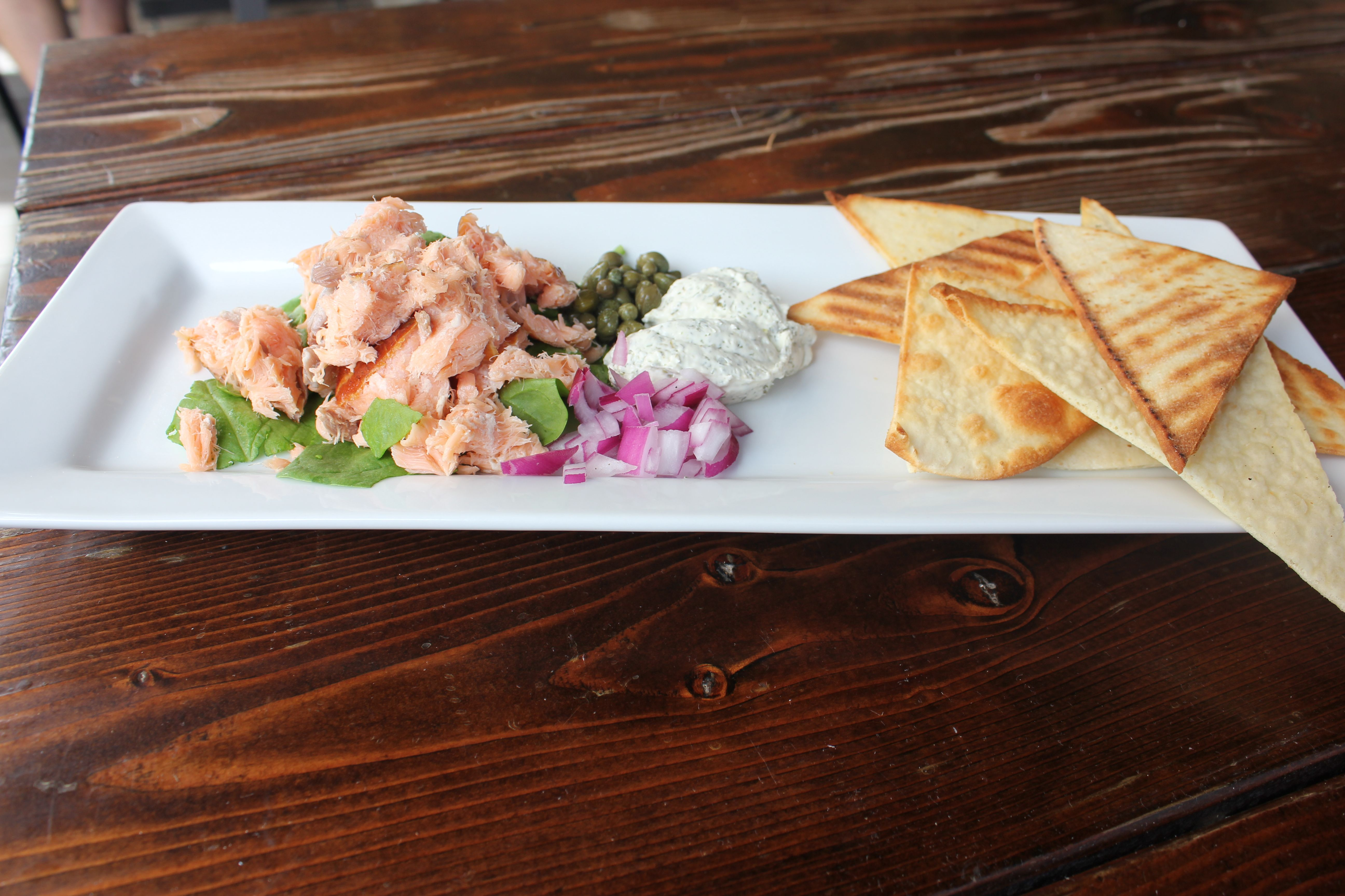 Smoked Salmon- Applewood smoked salmon, dill cream cheese mousse, capers and red onions.