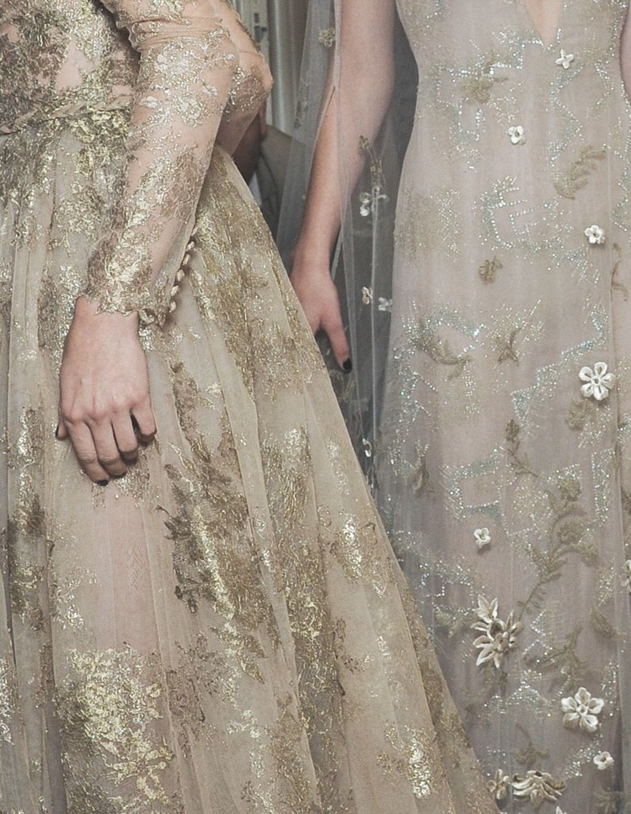 Valentino haute couture fall flowy gowns long sleeved flower