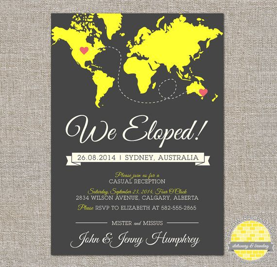 Elope Announcement And Reception Invitation Hearts And Map Diy