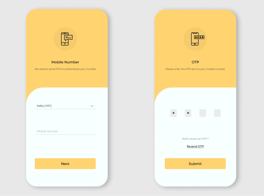 otp screen App interface design, Web app design, Android