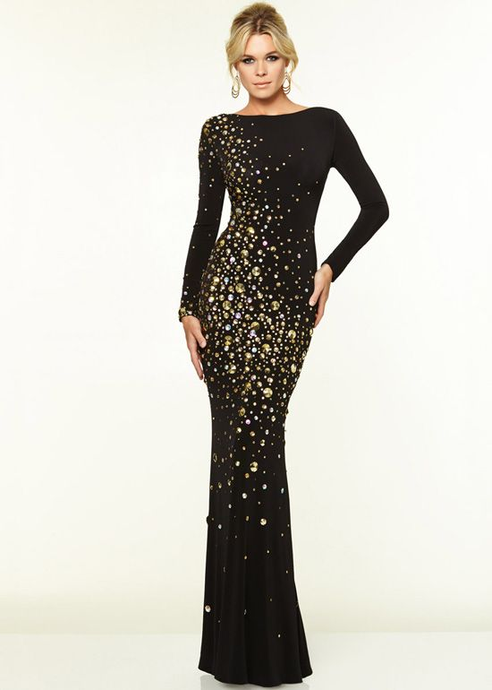 Gold dresses with black. Sexy Back Long Sleeves Black Gold Circular Stones  Evening Gown.jpg ... 0d972976b15c