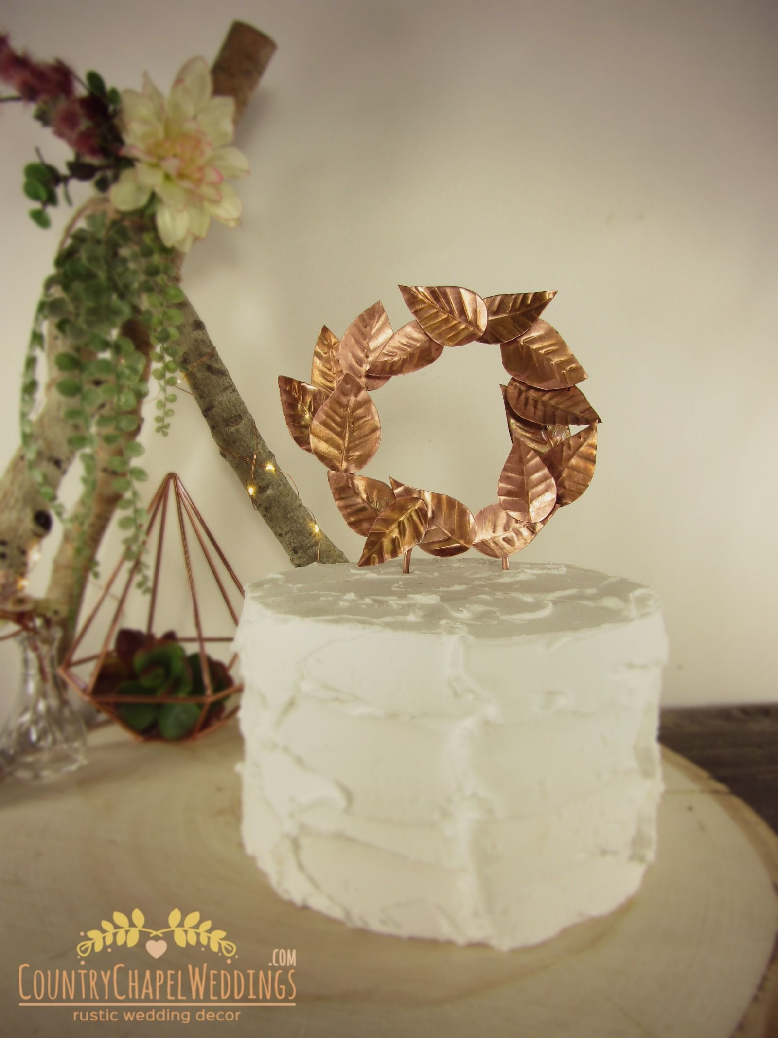 Copper leaves cake topper available in several sizes get this and