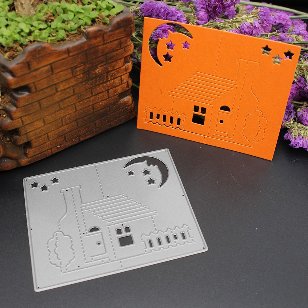 Metal Die Cutter 3D Stereo House with moon and stars