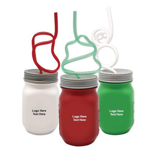 Promotional Krazy Straw Holiday Mason Jars Holiday Mason Jar Krazy Straws Custom Christmas Gifts
