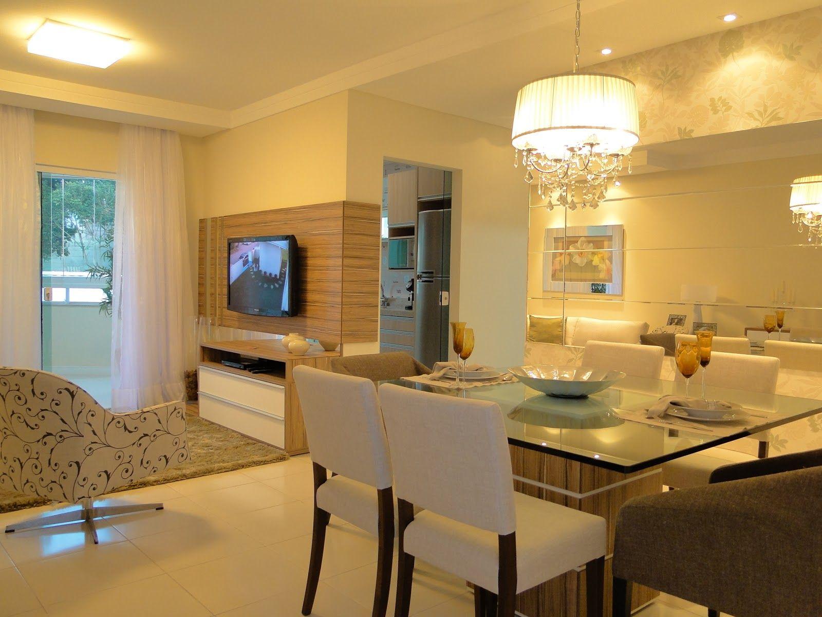 65 Salas De Jantar E Estar Integradas Veja Dicas E Qual Ilumina O  -> Sala De Jantar Pequena Com Espelho Na Parede