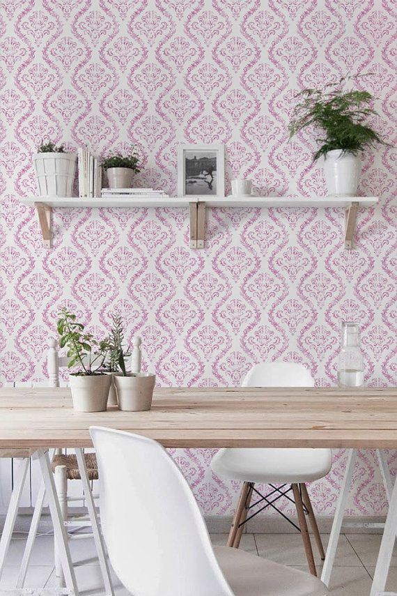 Peel And Stick Self Adhesive Vinyl Wallpaper Wall Decal Baby Pink Damask Pattern 100 Temporary Wallpaper Kitchen Wall Decals Green Kitchen Decor