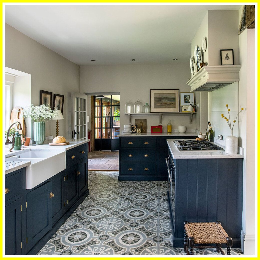 38 Reference Of Kitchen Black Cabinets Floor Tiles In 2020 Interior Design Kitchen Kitchen Floor Tile Best Flooring For Kitchen