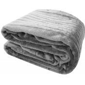 Gray Solid Color Super Soft Plush Queen Mink Blanket