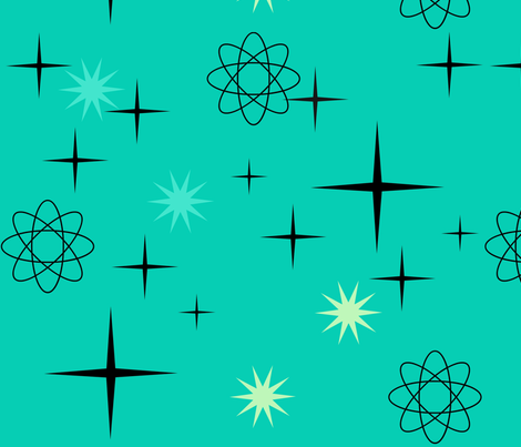 Atomic Starburst on Turquoise  fabric by lillierioux on Spoonflower - custom fabric