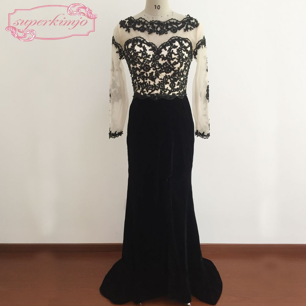 Click to buy ucuc black prom dresses floor length sheer crew neckline