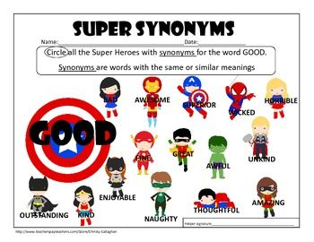 Free Synonym Worksheet For Good Featuring Your Favorite