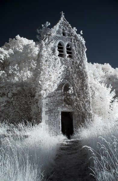 snow-covered church