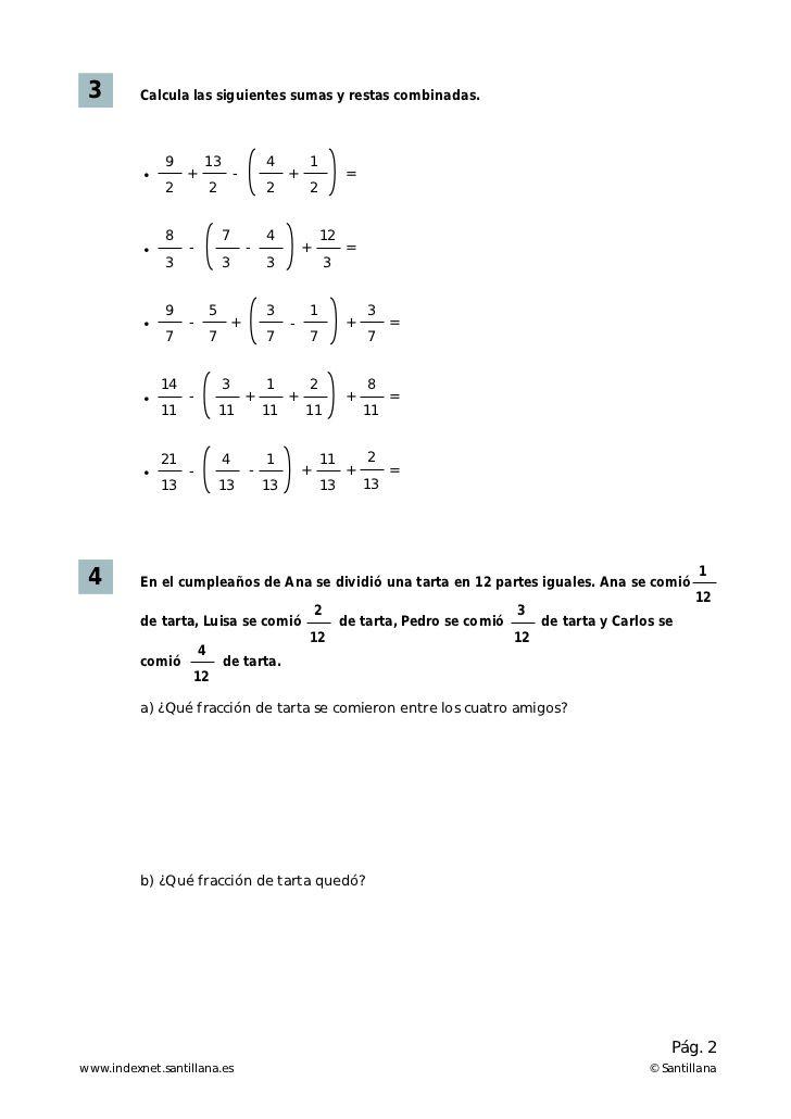 Ejercicios suma y resta de fracciones | Noelia | Pinterest | Resta ...