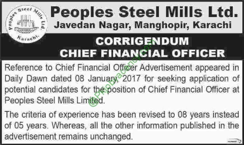 Chief Financial Officer Jobs In Peoples Steel Mills Limited Th