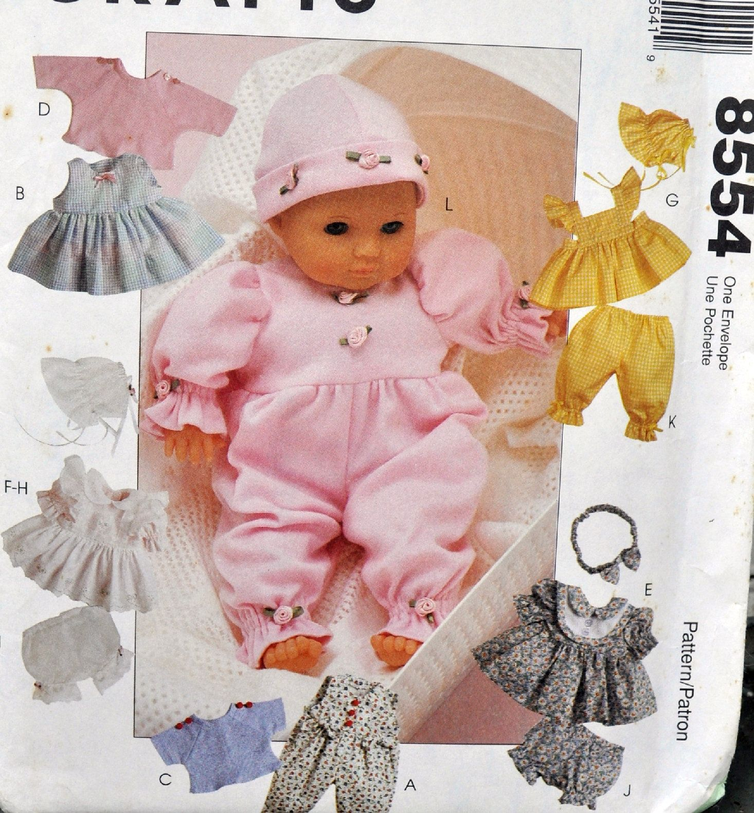 Mccall S 8554 Diy Baby Doll Clothes For 8 16 Dolls Bitty Baby Etc Kawaii Gift Idea Dress Bon Baby Doll Clothes Doll Clothes Doll Sewing Patterns