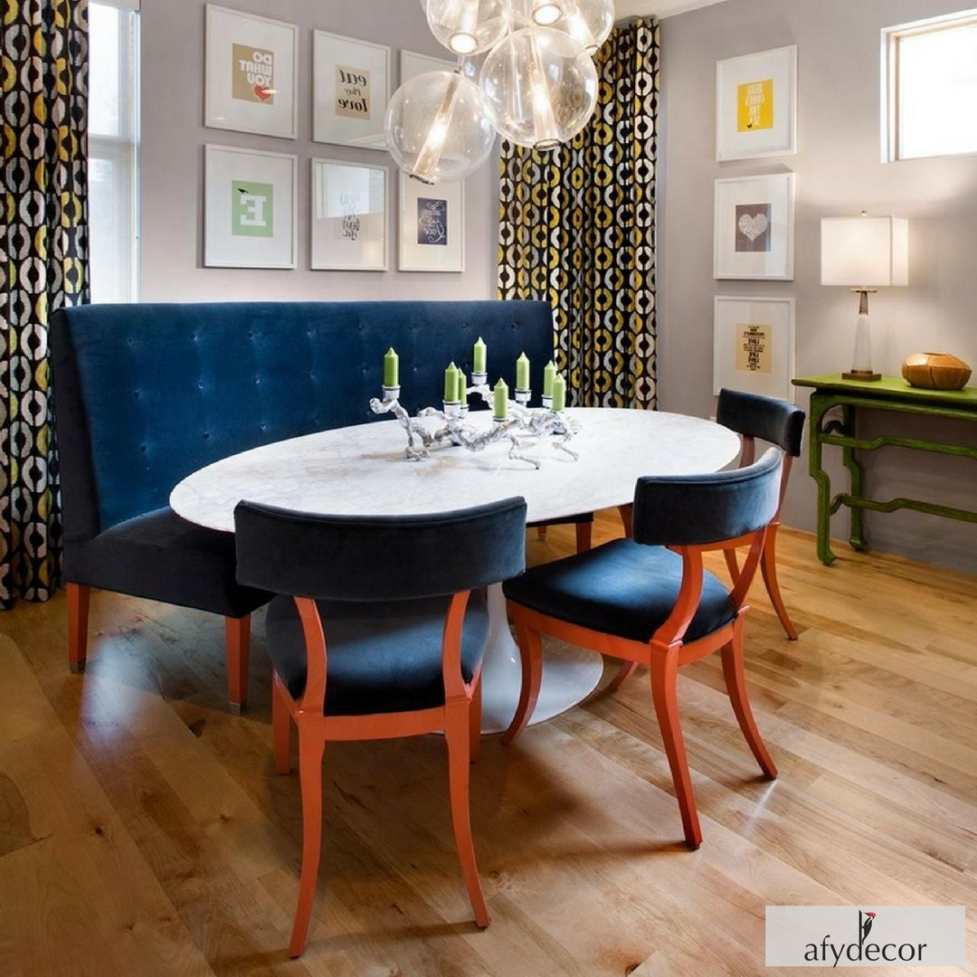 Chic Fusion Retro Style Dining Set In Sapphire Blue Velvet