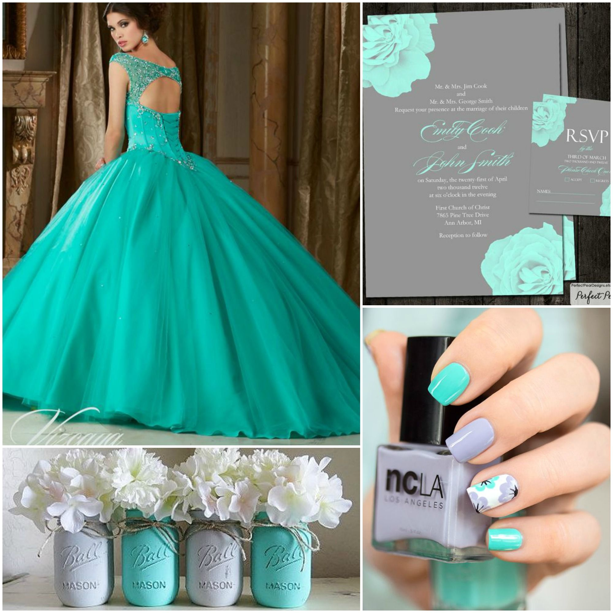 c7bb304e30b Quinceanera Teal and Grey Theme Ideas