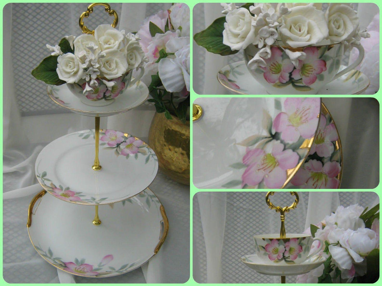 Antique noritake azalea 3 tier wedding cake stand pink