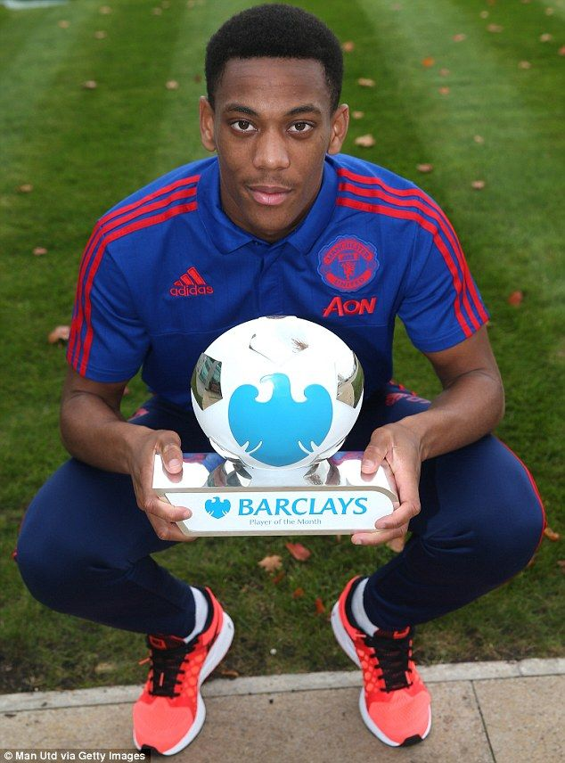 Manchester United youngster Anthony Martial won the award in September 2015