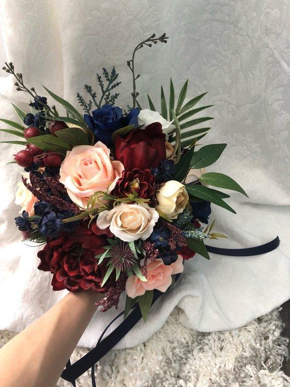 Wedding Bouquet Burgundy Navy Blue Red Peony Eucalyptus Etsy In 2020 Faux Flowers Wedding Wedding Bouquets Flower Girl Bouquet