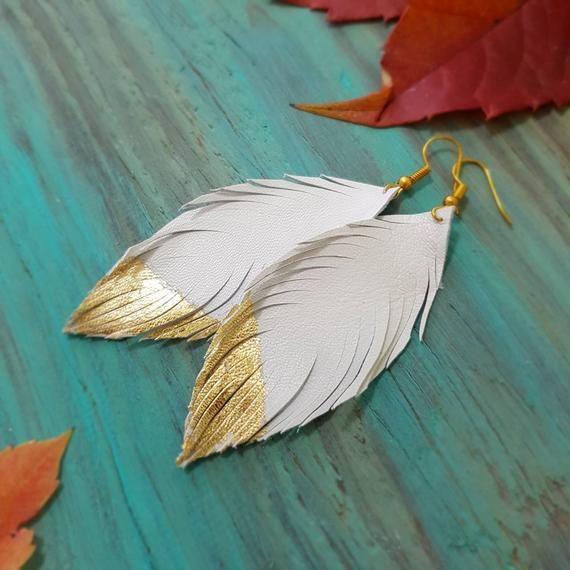 White-gold Leather feathers Earrings, Beige-gold Wedding earrings, Bridal Earrings, Genuine Leather Lightweight Earrings, Statement jewelry