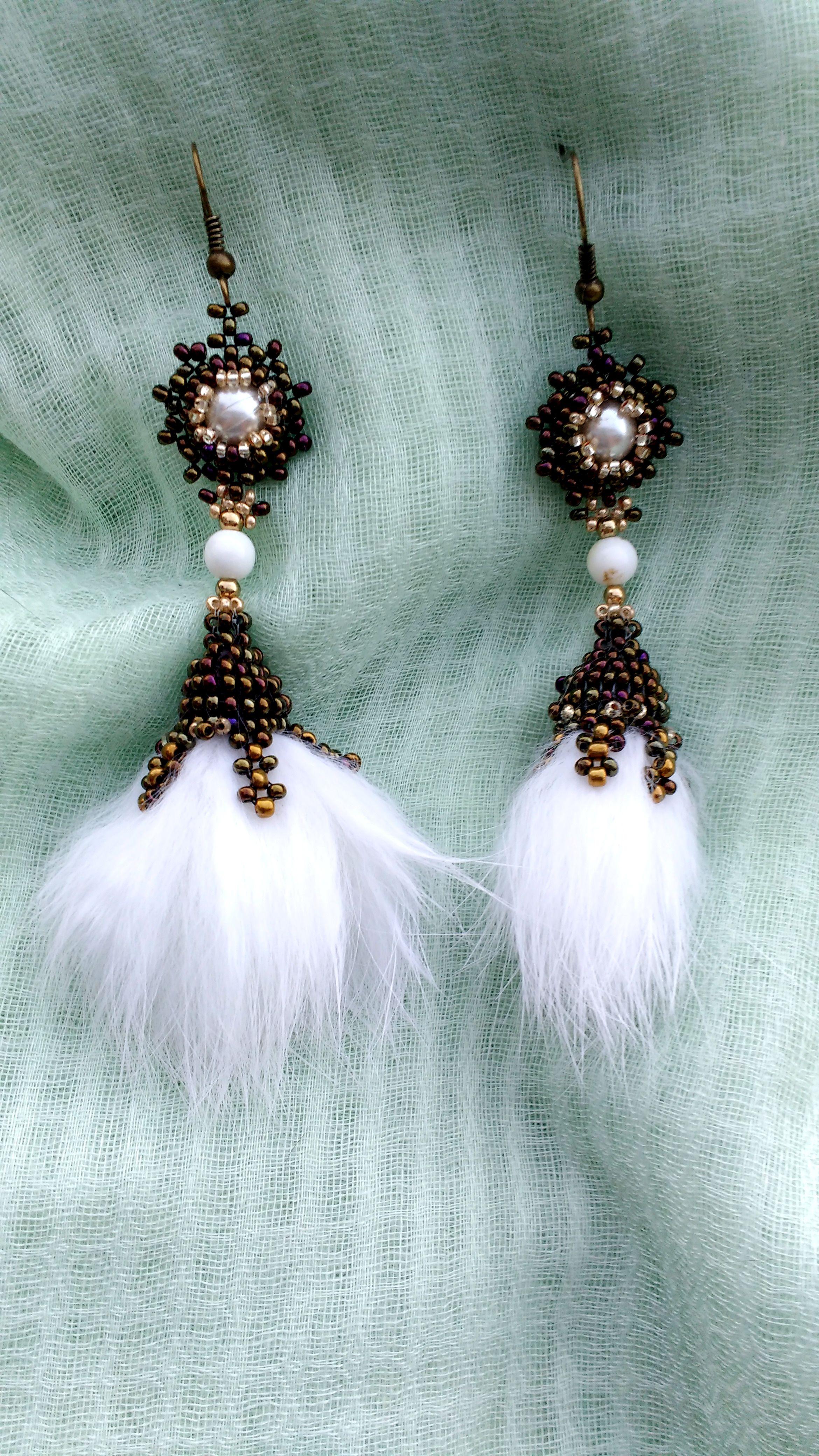 Beaded Mink Fur Earrings (Handmade)