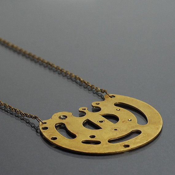 Steampunk Necklace Upcycled Clock Part Brass Steampunk by Tanith
