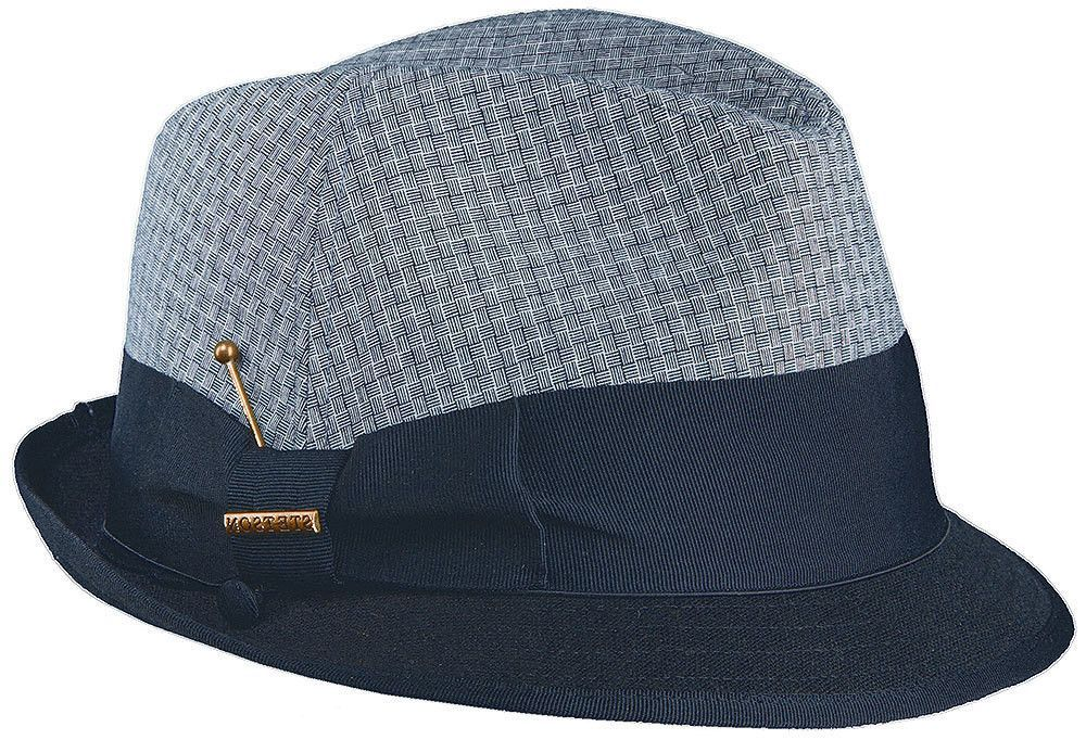 Linen Blend Fedora With Contrast Brim Hat by Stetson Classic
