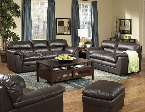 Dark Brown Leather Living Room Set With