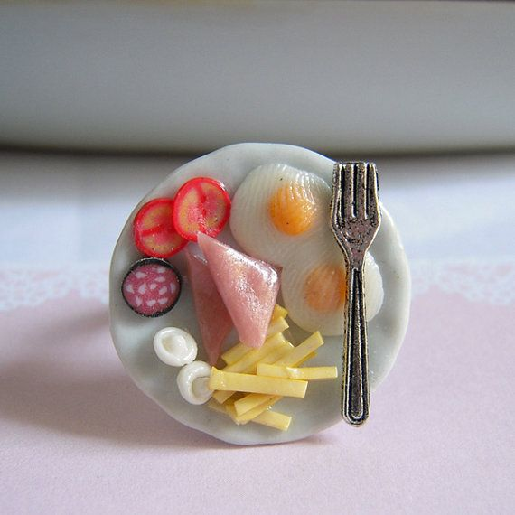 Miniature Food Ring, Breakfast Ring, Clay Food Egg Ham French Fries Silver Fork, Adjustable Ring