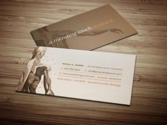 A mending touch massage business cards businesscards for Massage therapy business card templates free