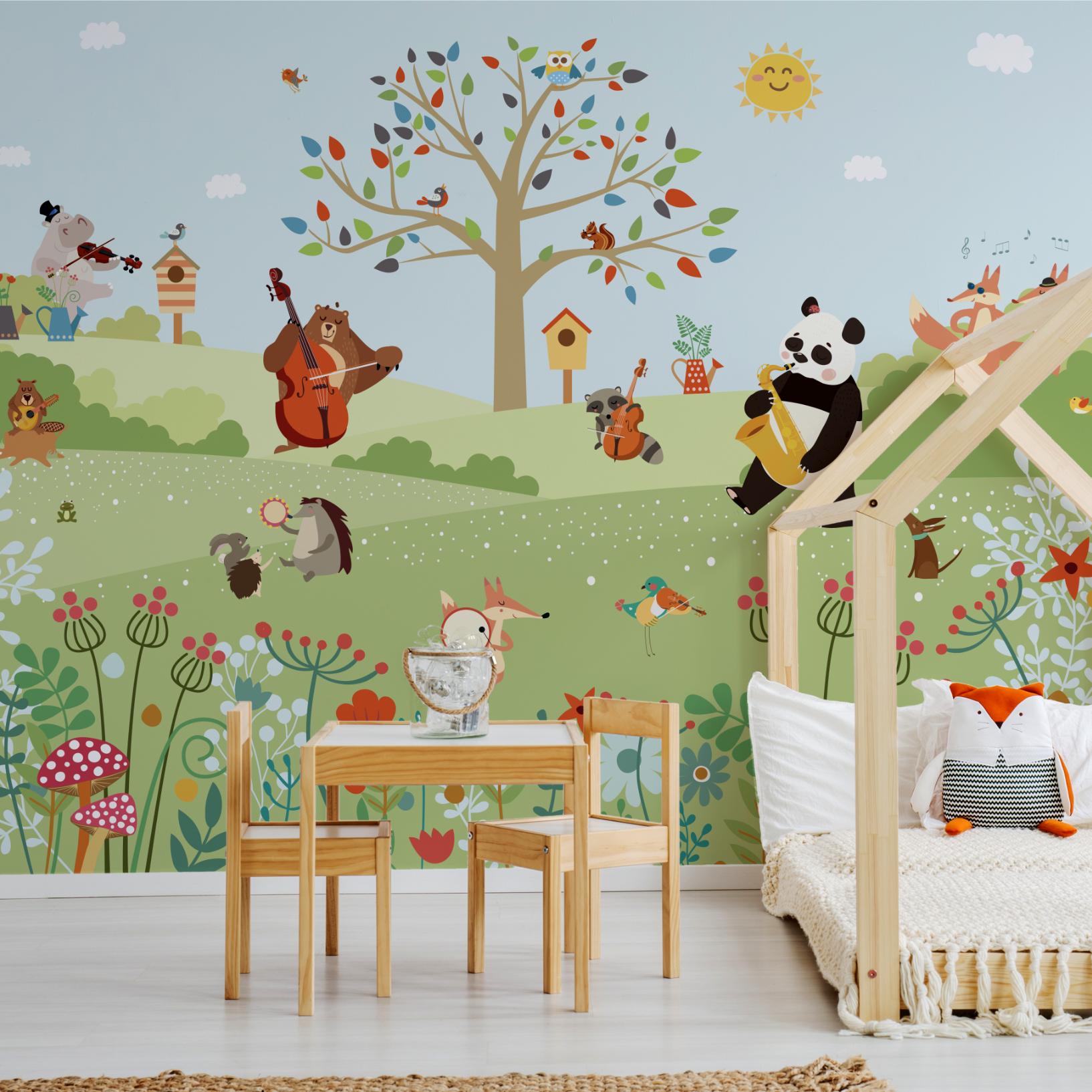 carta da parati con animali di murals wallpaper. Scissors Internal Ongoing Carta Da Parati Bambini Moldcontrolnj Com