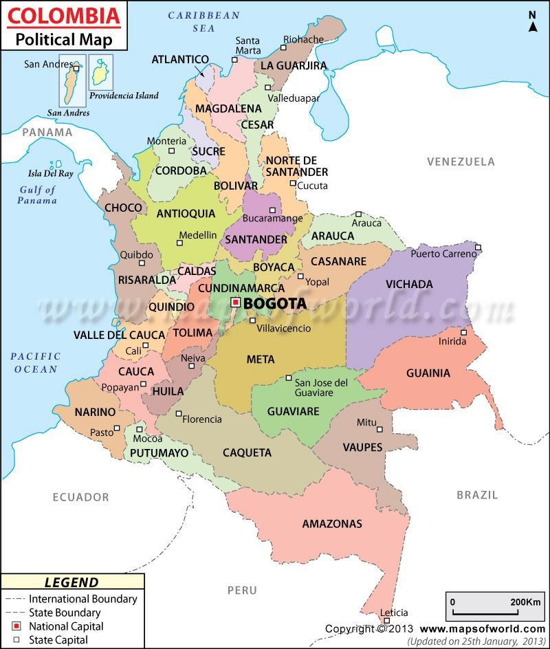 Colombia State Map  Maps w thematic data  Pinterest  Colombia