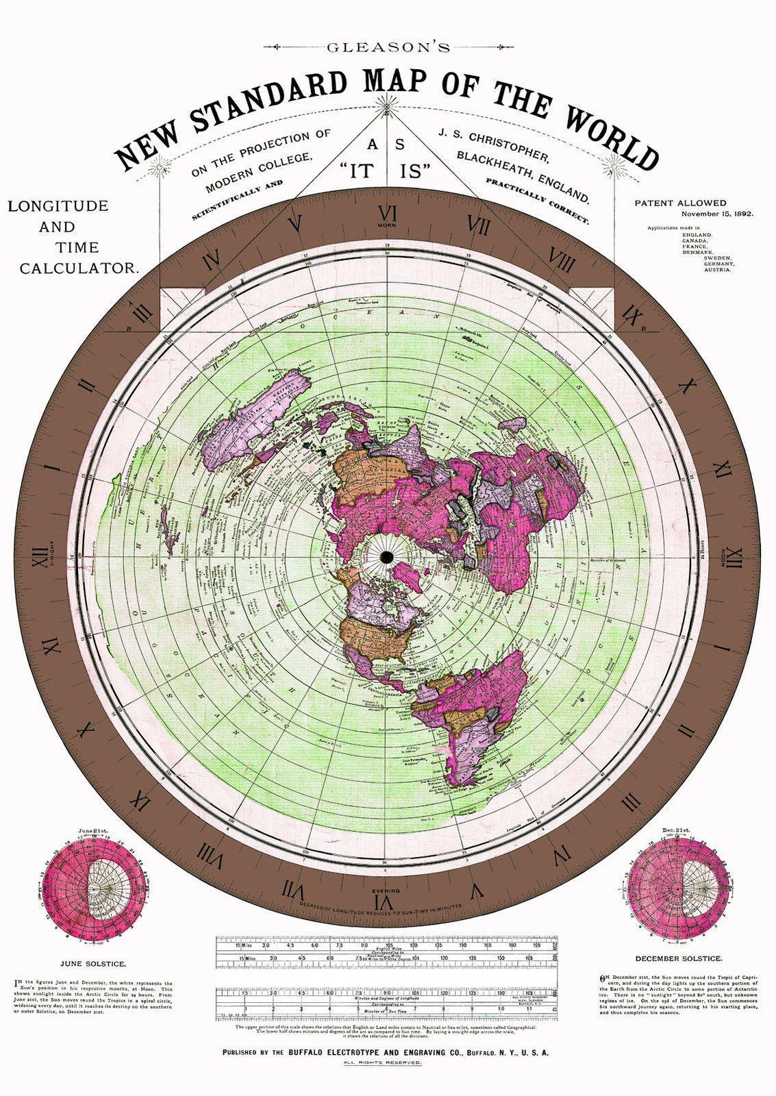 $14.0   Flat Earth Map Alexander Gleason   1892 Gleason's Standard