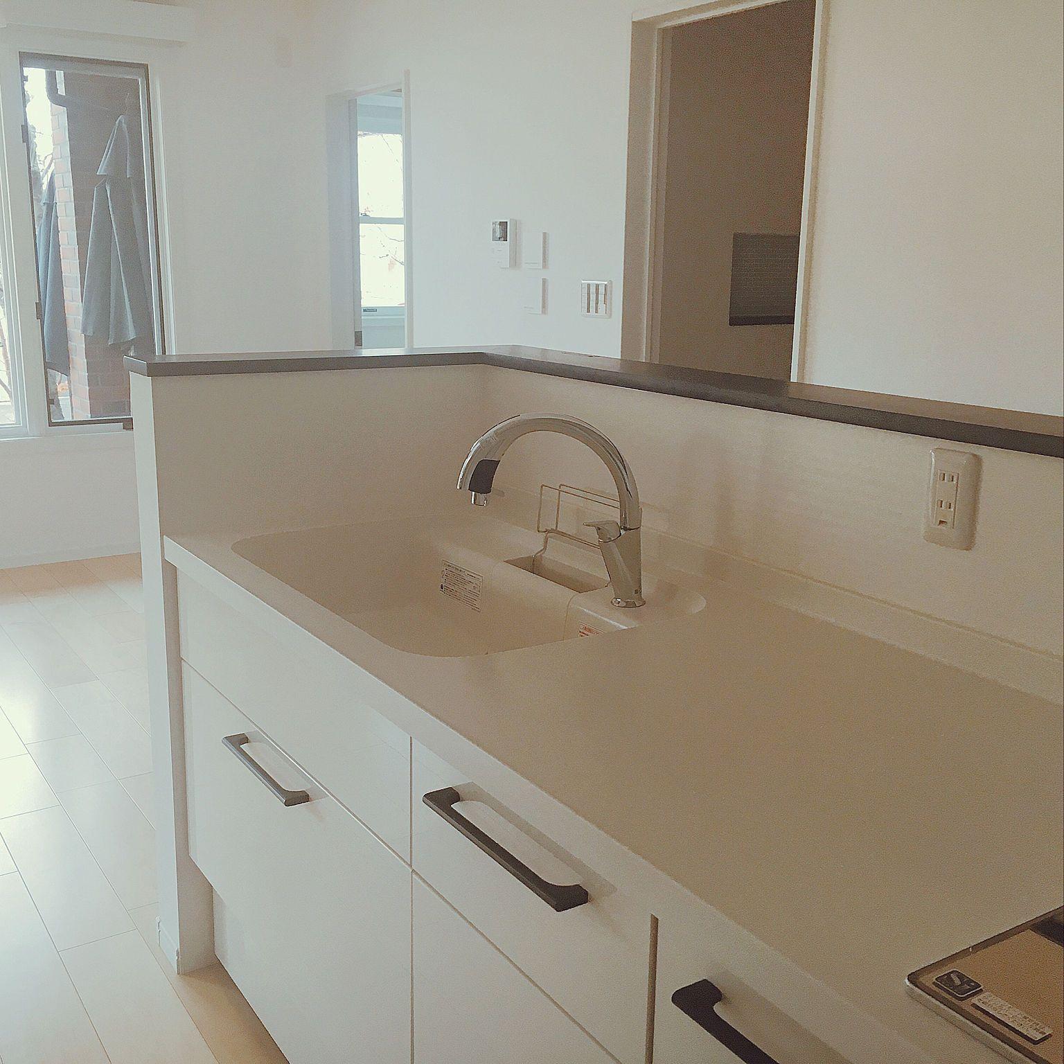 キッチン ネイビー ホワイト ネイビー 真っ白なキッチン 真っ白なお家