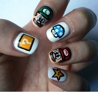 Bloggers share their favorite and most outrageous nail art. Check out this Mario manicure from One Nail to Rule Them All!