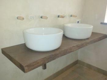 Door decosier op maat gemaakte wastafel meubel massief eiken