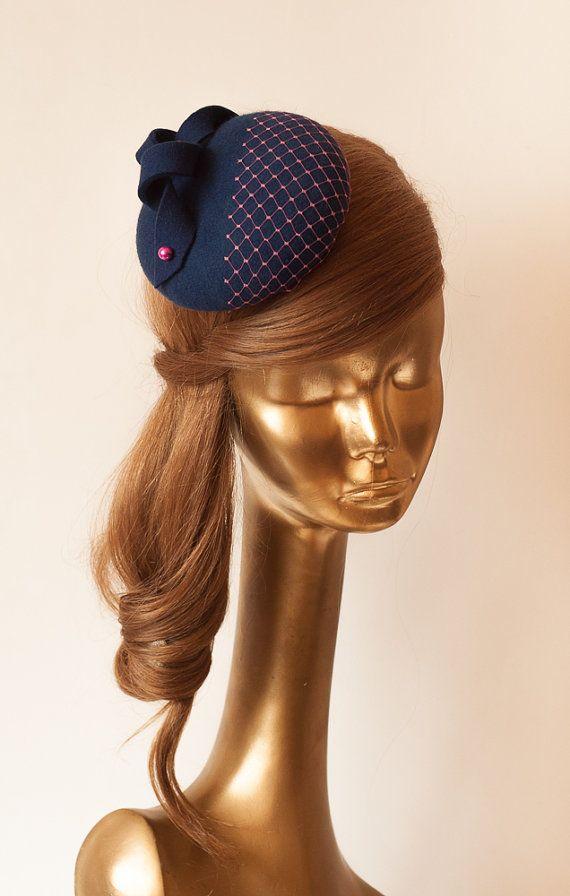 8af91e04fc3dd Unique Modern Navy Blue Felt FASCINATOR. Fascinator for Women in ...