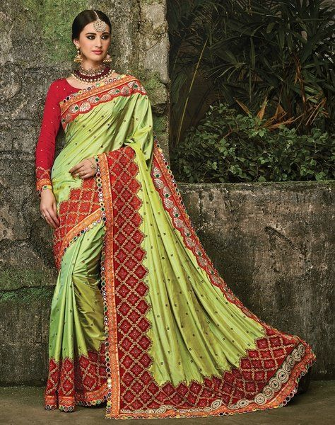 d8d71db457 Designer Pista Green Color Paper Silk Saree With Chinon Blouse Fabric