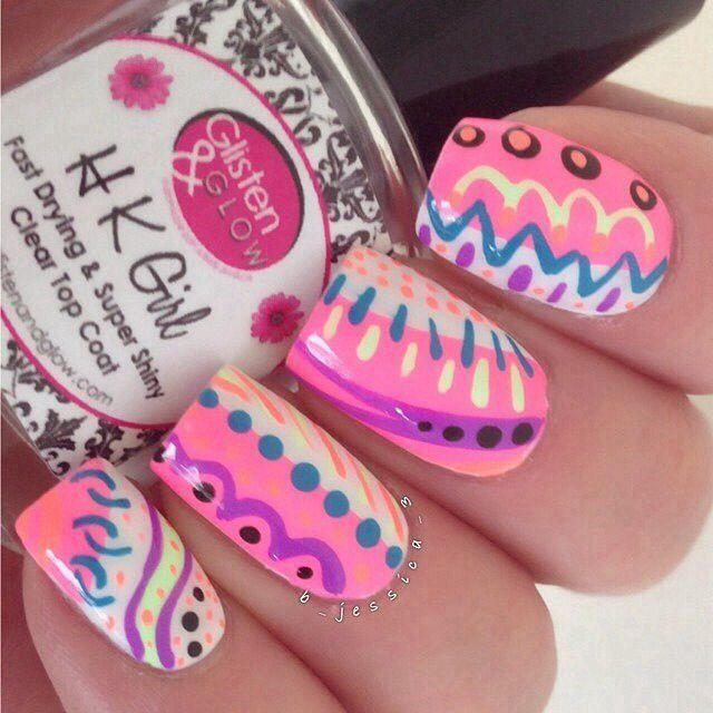 uas acrilicas rosadas pink acrylic nails
