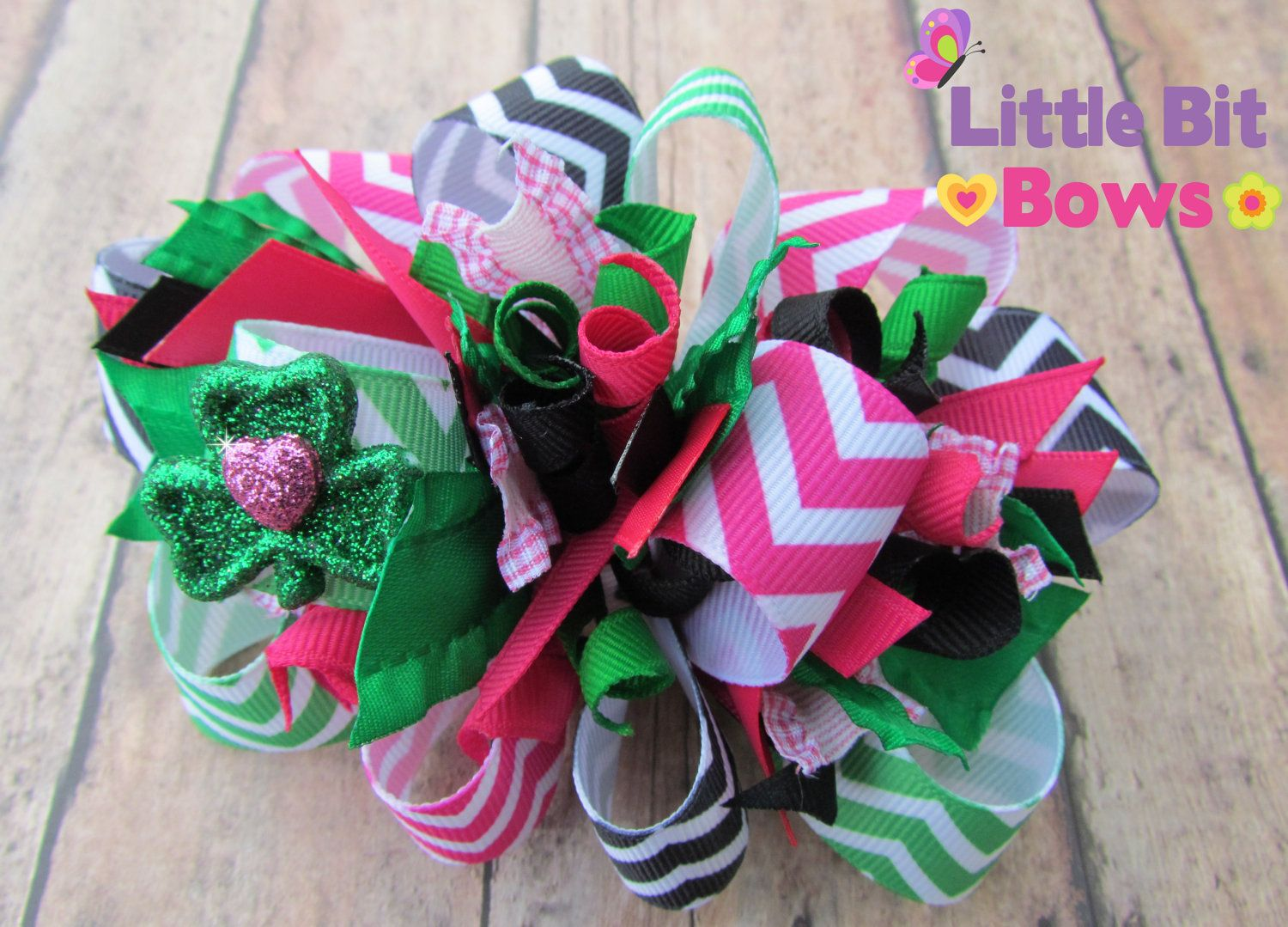 Pink Green and Black Chevron Print St Patrick's by LittleBitBows, $11.99