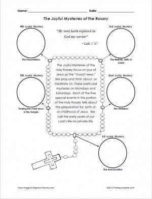 joyful mysteries of the rosary cut and paste activity religious