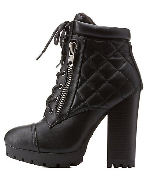 7d9a5fb57 Bamboo Lug Sole Quilted Combat Booties