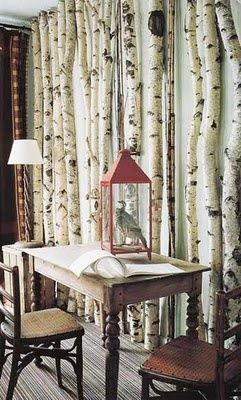 Real Birch Wood Decor Lined Up On A Wall
