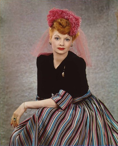 """A portrait of Lucille Ball from 1944. """"In Vibrant Color: Vintage Celebrity Portraits From the Harry Warnecke Studio,"""" an exhibition at the National Portrait Gallery in Washington, consists of color photographic portraits of 24 noteworthy people from the last century."""