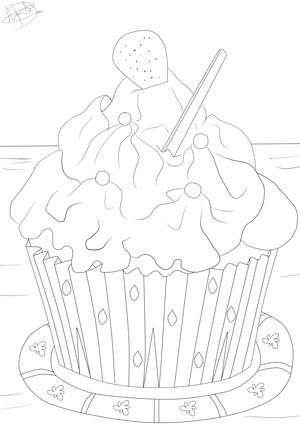 Ausmalbild Cupcake Cupcake Sweets Adult Coloring Cupcakes Und