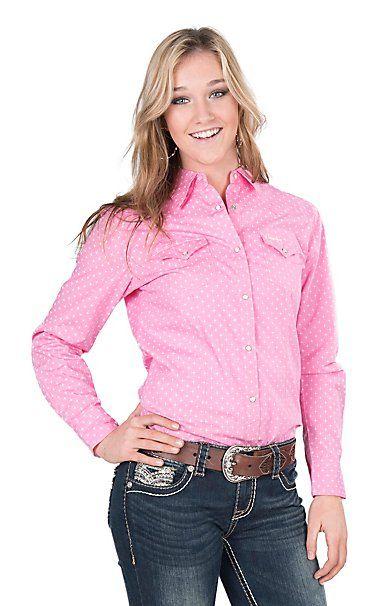f73714cad6 Wrangler Women s Tough Enough To Wear Pink Star Print Long Sleeve Western  Snap Shirt