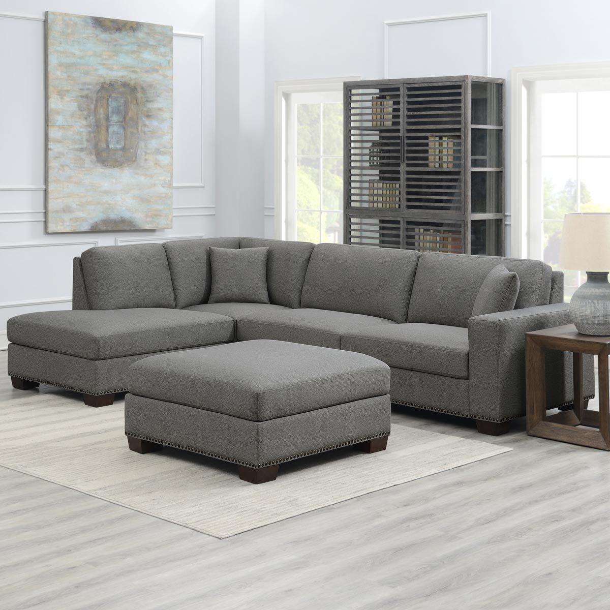 Thomasville Artesia Grey Fabric Sectional Sofa With Ottoman Costco Uk In 2020 Fabric Sectional Sofas Sectional Sofa Fabric Sectional